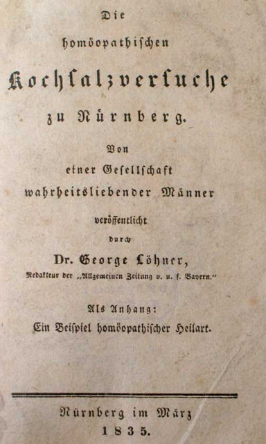 Portada del panfleto que anunciaba el ensayo de la sal de Nuremberg, en 1835 (fuente: The James Lind Library)