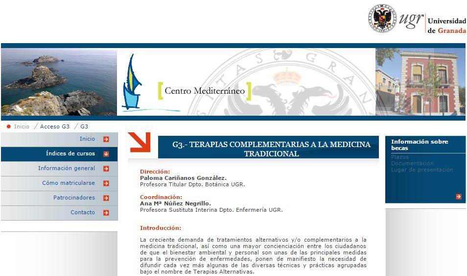 """web del curso """"terapias complementarias a la medicina tradicional"""""""