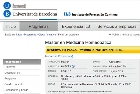 Firmas contra el Máster homeopático de la Universidad de Barcelona