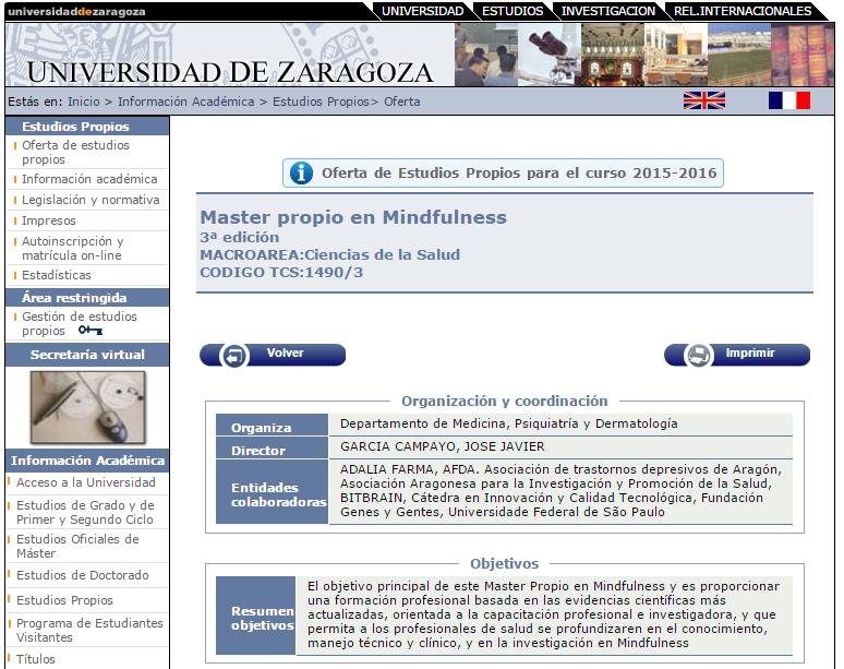 Master mindfulness Zaragoza