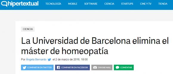 Homeopatía  la Universidad de Barcelona elimina el máster