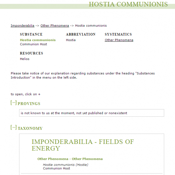 homeopathy Wichmann provings info   Hostia communionis