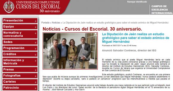 Captura del anuncio de  la noticia en la web de los cursos