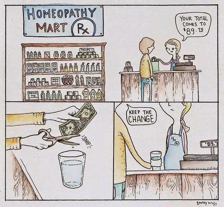 Chiste gráfico: un comprador de homeopatía paga con un trocito de billete diluido