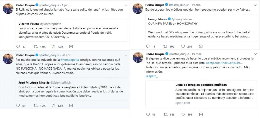 Algunos tuits de Pedro Duque criticando diversas pseudociencias